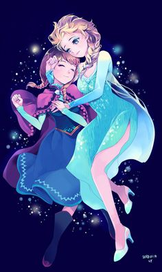 Frozen - Elsa and Anna anime Disney Pixar, Deco Disney, Film Disney, Disney Fan Art, Disney Animation, Disney And Dreamworks, Disney Dream, Disney Love, Disney Magic