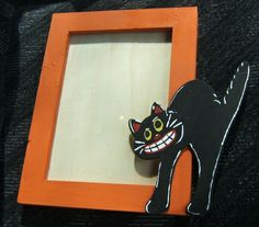 Handpainted Vintage Halloween Picture Frame