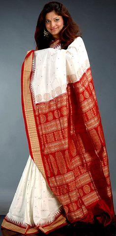 79abe4fe058 White and Maroon Bomkai Sari from Orissa with Temple Border. Silk Sarees  Online ShoppingIndia ...