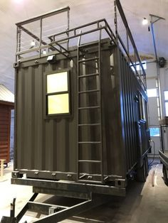 This is the new Vista C Shipping Container Tiny House from ESCAPE. It's built using a standard ISO shipping container so it can be shipped anywhere or it can be attached to a special tra… Container Home Designs, Container Shop, Cargo Container, 20ft Container, Building A Container Home, Container Buildings, Container Architecture, Container House Plans, Sustainable Architecture