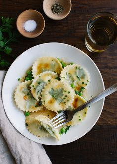 Laminated Parsley Ravioli Stuffed with Parsley, Chive and Chèvre   www.kitchenconfidante.com  Stuffed pasta is simpler than you think! These ravioli is filled with spring flavors!