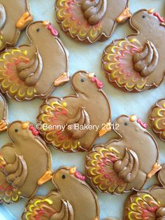 Turkey cookies by BennysBakeryCakes Turkey Cookies, Fall Cookies, Iced Cookies, Royal Icing Cookies, Holiday Cookies, Cupcake Cookies, Turkey Cookie Cutter, Ghost Cookies, Mini Cookies