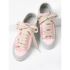 Lace Up Satin Low Top Sneakers (140 BRL) ❤ liked on Polyvore featuring shoes, sneakers, flat platform shoes, flat lace-up shoes, platform trainers, platform flats and lace up flats shoes