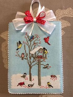 Finished Cross Stitch Ornament Winter Bird Feeder by Crossed Wings Collection  | eBay