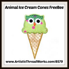 "Free ""Animal Ice Cream Cone"" Applique design.  Download today for free! Free Machine Embroidery Designs, Applique Designs, Nancy Smith, Cute Owl, Forest Animals, Free Design, Baby Animals, Ice Cream, Retro"