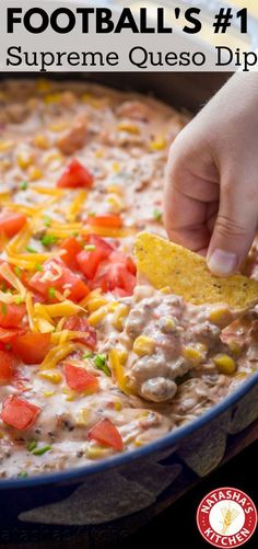 Sausage Queso Dip (with Real Cheese!) – Natasha's Kitchen Supreme Queso Dip loaded with half a pound of real cheese is THE Football Party dip EVER Beer Cheese, Cheese Dips, Cheese Dip Recipes, Cheddar Cheese, Queso Cheese, Bacon Recipes, Appetizer Dips, Yummy Appetizers, Mexican Appetizers