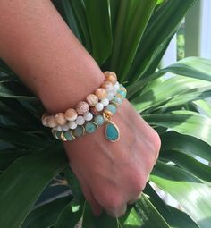 Aquamarine Jade Gold Stackable Bracelet / yoga bracelet / mall bracelet / boho chic / by YellowMangoBracelets