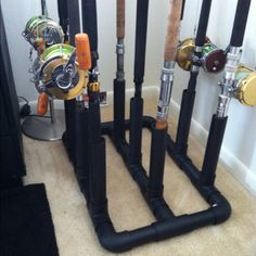 No, wait! This is the next project for my husband. Fishing pole holder made out of PVC pipe and spray painted black Fishing Pole Storage, Fishing Pole Holder, Pole Holders, Fishing Tools, Fishing Equipment, Fishing Stuff, Fishing Videos, Kayak Storage, Fishing Tricks