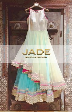 Explore a New Kind of Femininity with JADE's Stunning Multi-Layered Anarkali.Let's be Fashion Forward! Indian Attire, Indian Ethnic Wear, Indian Style, Indian Dresses, Indian Outfits, Western Dresses, Indian Clothes, Anarkali Dress, Lehenga