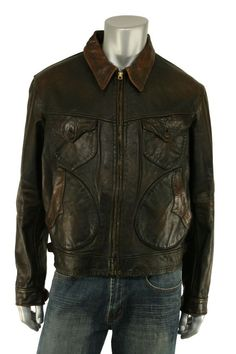 d7979eceb18 Ralph Lauren RRL Distressed Western Mendoza Leather Jacket XL New  1800