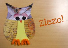Paper owls using magazine pages