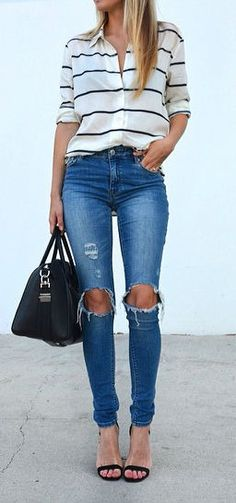 casual style perfection: shirt + rips + bag