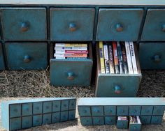 14 Drawer CD DVD video Game Cupboard Apothecary Cabinet Storage Chest of Drawers. via Etsy.