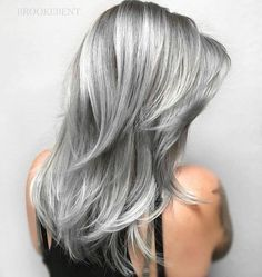 New Hair Color Grey Titanium 67 Ideas Hair Color And Cut, New Hair Colors, Cool Hair Color, Long Gray Hair, Silver Grey Hair, Blue Hair Highlights, Coiffure Hair, Gray Hair Growing Out, Corte Y Color