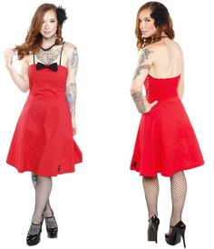 NEW Sourpuss Red Polka Dot Skull Swing Dress Punk Tattoo Strapless Bow S-2XL #ValentineDress #Swing