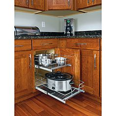 @Overstock - Maximize storage and stay organized with these medium, two-tier chrome wire cabinet-mount baskets. The baskets feature heavy-gauge wire construction, and bottom, side and rear mounting for total stability.http://www.overstock.com/Home-Garden/Medium-Two-Tier-Chrome-Wire-Cabinet-Baskets/6458855/product.html?CID=214117 $99.99