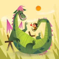 Joey Chou Disney Pete's Dragon Dragon Illustration, Children's Book Illustration, Disney Fan Art, Disney Love, Joey Chou, Pete Dragon, Disney Kunst, Disney Animation, Pablo Picasso