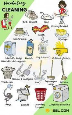 Cleaning Supplies: List of House Cleaning & Laundry Vocabulary Household Cleaning and Laundry Vocabulary in English English Verbs, Kids English, Learn English Grammar, English Vocabulary Words, Learn English Words, English Phrases, English Language Learning, English Study, Teaching English