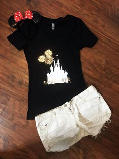 Disney& Happily Ever After Fireworks V-Neck Shirt Magic Disney World Shirts, Disney Shirts, Disney Outfits, Walt Disney World, Disney Clothes, Disney Family, Disney Fashion, Disneyland Outfits, Emo Outfits