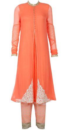 Orange dori work kurta set by RIDHI MEHRA. Shop at http://www.perniaspopupshop.com/whats-new/ridhi-mehra-6501