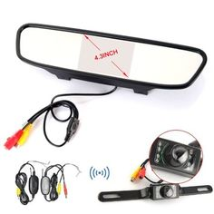 Ehotchpotch Vehicle Back-up Camera & Monitor Parking Reverse System, 4.3'' TFT LCD Display Rearview, 2.4G Wireless Car Rear View Camera, Waterproof, Wide Viewing, Night Vision, Backup Cameras