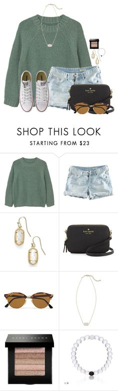 """""""The best of both worlds"""" by flroasburn ❤ liked on Polyvore featuring MANGO, H&M, Kendra Scott, Kate Spade, Ray-Ban, Bobbi Brown Cosmetics and Converse"""