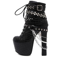 Gothic Metal Rivets Chains Womens Biker Boots (90 CAD) ❤ liked on Polyvore featuring shoes, boots, gothic lolita shoes, motorcycle boots, metal boots, moto boots and goth boots
