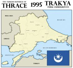Turkish Republic of Thrace, 1995 by xpnck on DeviantArt Imaginary Maps, Treaty Of Versailles, Fantasy Map, Alternate History, Historical Maps, Montenegro, Prussia, Flags, Ottoman