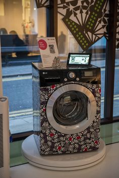 'Holly Fulton for LG' 6 Motion Washing Machine customised with Magenta Heart and Lilac Square accents.