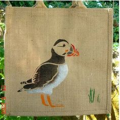 Puffin hand-painted jute bag