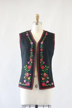 FOLK ART Vintage 70s Vest 1970's Hand Embroidered by lovestreetsf