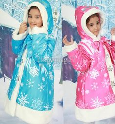 Down Coat Jacket Wholesale New Baby Girls Frozen Warm Coat Winter Long Sleeve Jackets Anna & Elsa Children Cotton Padded Clothes Snowflake Kids Outwear Down Jacket Coat From Charming77, $45.37| Dhgate.Com