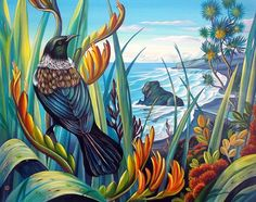 Irina Velman Irina Velman is a West Auckland artist whose paintings can be found in private collections throughout the world. Known for her distinctive style and vibrant colours, Irina's inspiration comes from the dramatic beauty of New Zealand. Painting Inspiration, Art Inspo, Tui Bird, Irina S, New Zealand Art, Nz Art, Maori Art, Bird Art, Cool Art