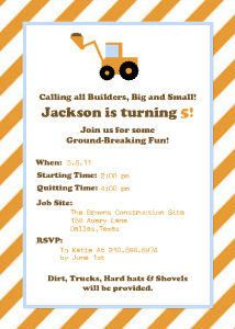 Mixbook Construction Party Boys Birthday Party Invitations