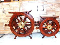 """2 pcs Wooden Table with ship wheel, Furniture, ship wheel design table 18 """" Ship Wheel, Design Table, Alonso, Nautical, Antiques, Ebay, Furniture, Navy Marine, Antiquities"""