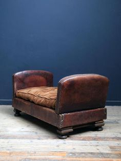 Leather Day Bed, Antique Chairs & Armchairs, Via Drew Pritchard and Salvage Hunters (UK tv reality show). Repinned by www.silver-and-grey.com. If you haven't discovered this company or tv show yet and you love salvage or industrial chic, then you'll love this