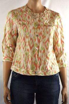 Ruby Rd. Plus 16W Multi-Color Blouse/Jacket 3/4 Sleeve Linen Blend Button Front #RubyRd #Blouse #Career