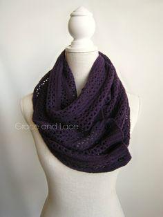Nellie Knit Scarf  Eggplant  open weave knit di GraceandLaceCo, $38.00