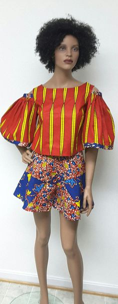 African Print Skater Shorts and Crop Top. Cold by NanayahStudio
