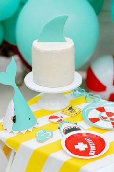 Check out this cool shark themed birthday party! The cake is so much fun! See more party ideas and share yours at CatchMyParty.com  #catchmyparty #partyideas #jaws #shark #sharkparty #beachparty #summerparty #girlbirthdayparty Girls Birthday Party Themes, Summer Birthday, Girl Birthday, Birthday Parties, Bridal Shower Cakes, Baby Shower Cakes, Shark Birthday Cakes, Sea Cakes, Summer Cakes