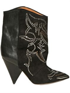 Isabel Marant 120 mm Studded Suede and Leather Boots  www.marsportmall.com