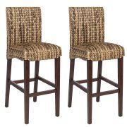 Best Choice Product BCP Set of Hand Woven Seagrass Bar Stools Mahogany Wood Frame Bar Height Stool, Counter Height Chairs, Wood Patio Chairs, Wood Patio, Home Bar Furniture, High Top Tables, Wicker Bar Stools, Mahogany Wood, Wood Kitchen Counters