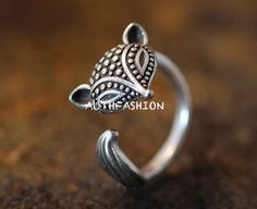Adjustable Retro Fox Ring Women's Girl's Antique Silver tone Animal Ring Jewelry #Authfashion #Band