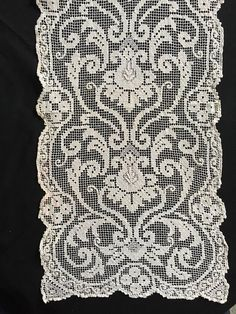 antique handmade filet lace table runner tablecloth doily