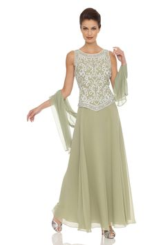 Embellished Chiffon Dress with Shawl