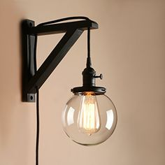 Pathson Industrial Stylish Plug in Wall Light Sconce Lamp Fixture Wall Wash Light with Globe Glass Lampshade for Loft Bar Kitchen Restaurant (Black) Plug In Wall Lights, Plug In Wall Sconce, Candle Wall Sconces, Wall Lamps, Wall Wash Lighting, Wall Sconce Lighting, Bedroom Lamps, Bedroom Lighting, Plug In Pendant Light