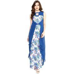 Designer Blue Printed Keyhole Dress