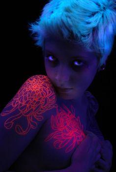 Glow in the dark tattoo = sexy! ⭐️❤️⭐️ #blacklight #glowinthedark #tattoo #ink #longhairdontcare #long #hair #lhdc #LHDCclothing  #follow ⭐www.LHDC.com⭐