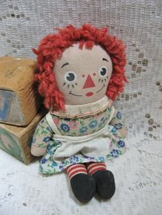 "1970s Knickerbocker 7"" Raggedy Ann Doll with original tag @ Vintage Touch $10.00"