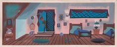 Mary Blair original concept painting from Peter Pan Mary Blair, Disney Animated Classics, Peter Pan Art, Disney Illustration, Color Script, Disney Artists, Walt Disney Animation, Disney Concept Art, Landscape Background